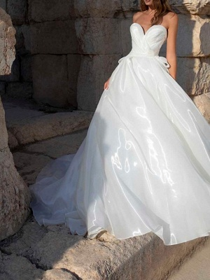 A-Line Wedding Dresses Sweetheart Neckline Sweep \ Brush Train Polyester Sleeveless Country Plus Size_1