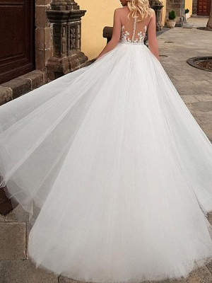 Mermaid \ Trumpet Jewel Neck Sweep \ Brush Train Detachable Lace Tulle Chiffon Over Satin Sleeveless Formal Sexy See-Through Wedding Dresses_2