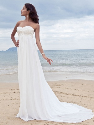 A-Line Wedding Dresses Sweetheart Neckline Court Train Chiffon Strapless Simple Beach Plus Size_7