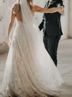 A-Line Wedding Dresses V Neck Sweep \ Brush Train Lace Spaghetti Strap Country Romantic Plus Size Backless_3