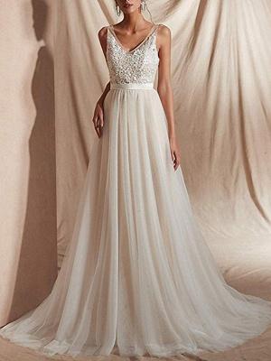 A-Line Wedding Dresses V Neck Sweep \ Brush Train Tulle Regular Straps_1