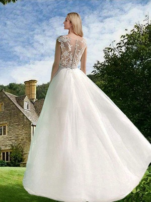 A-Line Wedding Dresses Jewel Neck Sweep \ Brush Train Asymmetrical Lace Tulle Sleeveless Sexy See-Through_2