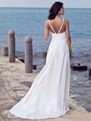 Sheath \ Column Wedding Dresses Sweetheart Neckline Sweep \ Brush Train Stretch Satin Spaghetti Strap Open Back_3