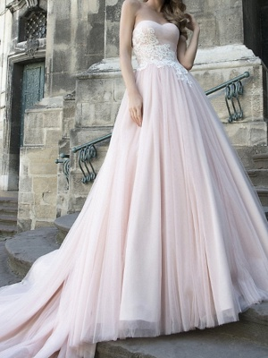 A-Line Wedding Dresses Strapless Sweep \ Brush Train Lace Taffeta Tulle Sleeveless Country Plus Size_1