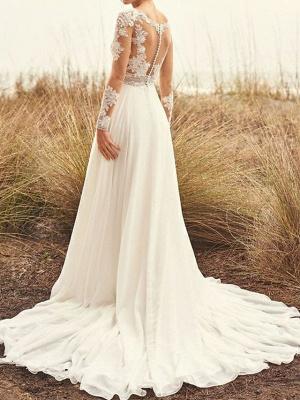 A-Line Wedding Dresses Bateau Neck Sweep \ Brush Train Chiffon Lace Long Sleeve Beach Boho Backless Illusion Sleeve_2