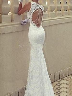 Mermaid \ Trumpet Wedding Dresses Scoop Neck Sweep \ Brush Train Lace Taffeta Chiffon Over Satin Sleeveless Sexy Plus Size_3