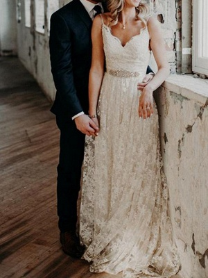 A-Line Wedding Dresses V Neck Sweep \ Brush Train Lace Spaghetti Strap Country Romantic Plus Size Backless_1