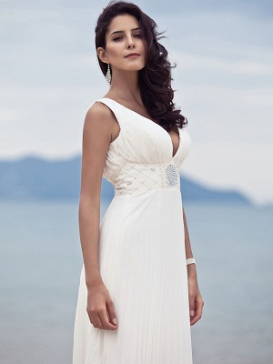 Sheath \ Column Wedding Dresses Straps V Neck Sweep \ Brush Train Floor Length Chiffon Sleeveless_6
