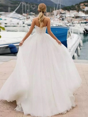 Ball Gown Wedding Dresses Strapless Sweep \ Brush Train Lace Tulle Strapless Sexy Plus Size_3