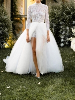 Jumpsuits Ball Gown Wedding Dresses High Neck Floor Length Lace Tulle 3\4 Length Sleeve Sexy See-Through_1