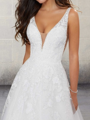 A-Line Wedding Dresses Spaghetti Strap Sweep \ Brush Train Lace Tulle Sleeveless Country Plus Size_3