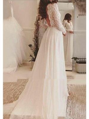 A-Line Wedding Dresses V Neck Sweep \ Brush Train Lace Long Sleeve Backless Illusion Sleeve_2