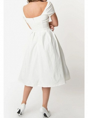 A-Line Wedding Dresses Sweetheart Neckline Knee Length Cotton Short Sleeve Simple Little White Dress_2
