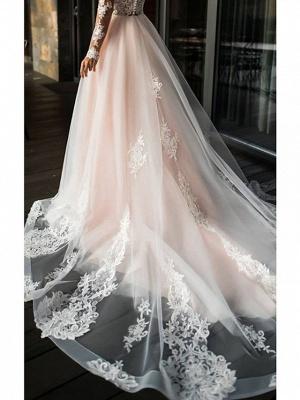 A-Line Wedding Dresses V Neck Sweep \ Brush Train Lace Tulle Long Sleeve Romantic Boho Illusion Sleeve_3
