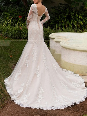 Mermaid \ Trumpet Wedding Dresses Off Shoulder Sweep \ Brush Train Tulle Long Sleeve Formal Plus Size Illusion Sleeve_2