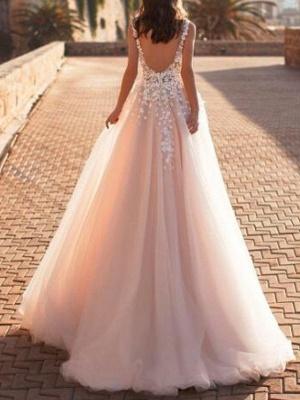 A-Line Wedding Dresses V Neck Sweep \ Brush Train Lace Tulle Regular Straps Mordern See-Through_2