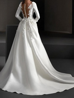 A-Line Wedding Dresses Jewel Neck Sweep \ Brush Train Stretch Satin Long Sleeve Country Plus Size_2