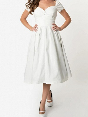 A-Line Wedding Dresses Sweetheart Neckline Knee Length Cotton Short Sleeve Simple Little White Dress_3