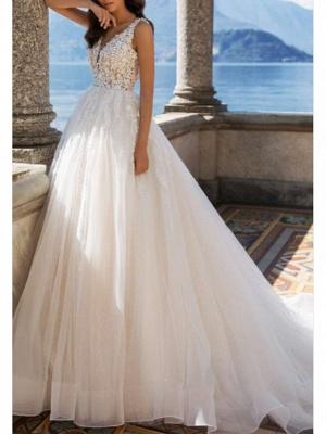 A-Line Wedding Dresses V Neck Sweep \ Brush Train Tulle Charmeuse Regular Straps Illusion Sleeve_1