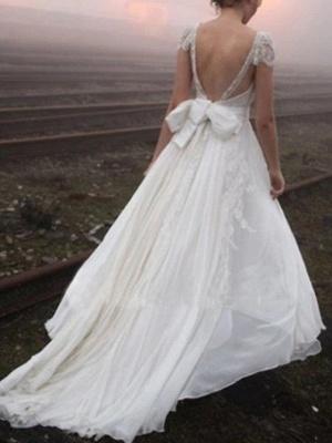 A-Line Wedding Dresses V Neck Sweep \ Brush Train Chiffon Lace Cap Sleeve Plus Size_2