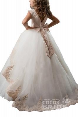 Scoop Neck Crap Straps Ball Gown Flower Girls Dress_2