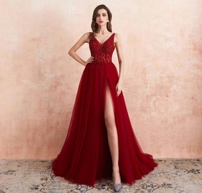 ZY176 Elegant Evening Dresses V Neckline Prom Dresses Long Red Online_2