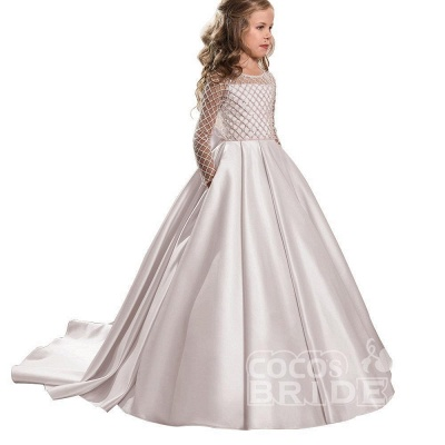 White Scoop Neck Long Sleeves Ball Gown Flower Girls Dress_16