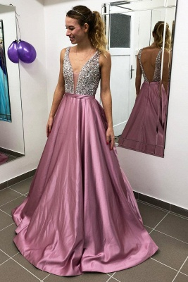 ZY171 Designer Evening Dresses Wine Red Evening Wear Prom Dress V Neckline_4