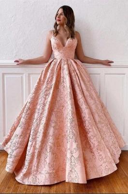 ZY214 Luxury Evening Dress Long Pink Prom Dresses V Neck_2