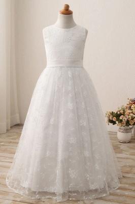 White Scoop Neck Short Sleeveless Ball Gown Flower Girls Dress_1