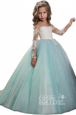 White Scoop Neck Long Sleeves Ball Gown Flower Girls Dress_6