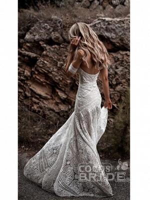 Ivory Lace Beach Wedding Dresses Sweetheart Neck Rustic Boho Wedding Dresses_2