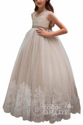 Pink Scoop Neck Sleeveless Ball Gown Flower Girls Dress_12