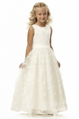 White Scoop Neck Short Sleeveless Ball Gown Flower Girls Dress_5