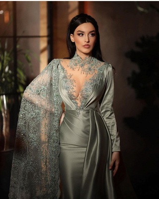 ZY188 Silver Evening Dresses With Lace Beautiful Prom Dresses Long Sleeves_4