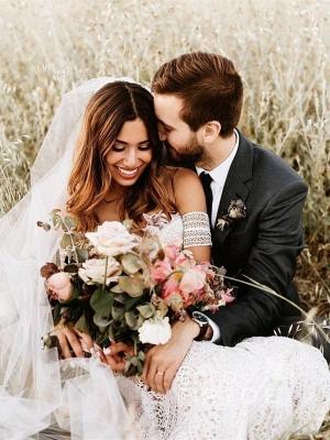 Ivory Lace Beach Wedding Dresses Sweetheart Neck Rustic Boho Wedding Dresses_6