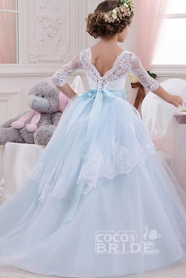 Scoop Neck 3/4 Sleeves Ball Gown Flower Girls Dress_2
