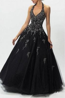 ZY152 Evening Dresses Long V Neckline Black Prom Dresses_1