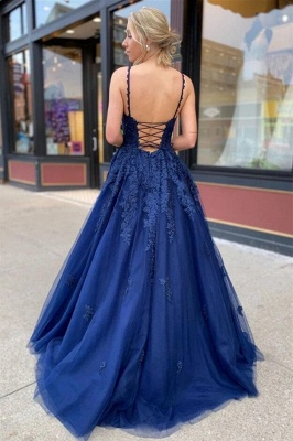 ZY213 Royal Blue Evening Dresses Long Cheap Prom Dresses With Lace_3