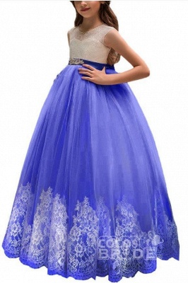 Pink Scoop Neck Sleeveless Ball Gown Flower Girls Dress_11