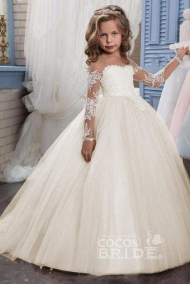 White Scoop Neck Long Sleeves Ball Gown Flower Girls Dress_15
