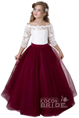 Scoop Neck 3/4 Sleeves Ball Gown Flower Girls Dress_4