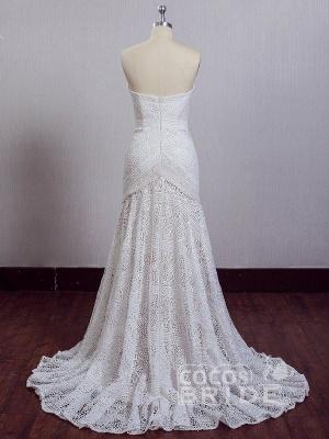 Ivory Lace Beach Wedding Dresses Sweetheart Neck Rustic Boho Wedding Dresses_13
