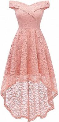 Vintage Floral Lace Off Shoulder Hi-Lo Formal Swing Dress_2