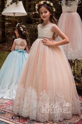 Pink Scoop Neck Sleeveless Ball Gown Flower Girls Dress_2