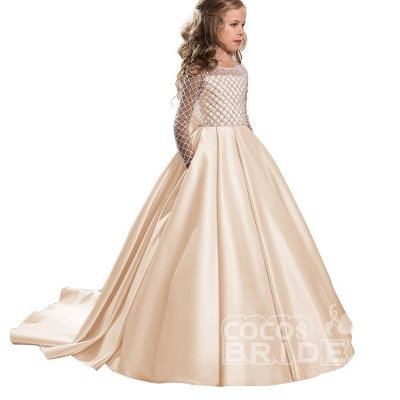 White Scoop Neck Long Sleeves Ball Gown Flower Girls Dress_4