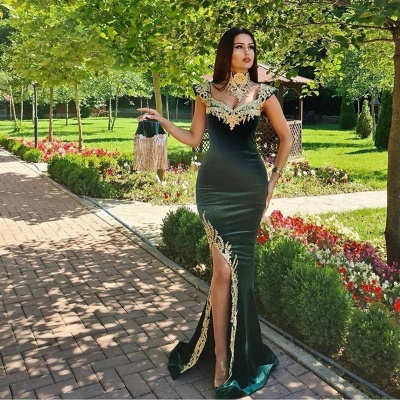 ZY174 Evening Dresses Long Green Evening Wear Prom Dress With Lace_2