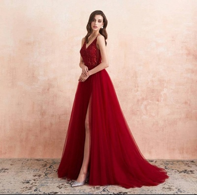 ZY176 Elegant Evening Dresses V Neckline Prom Dresses Long Red Online_4