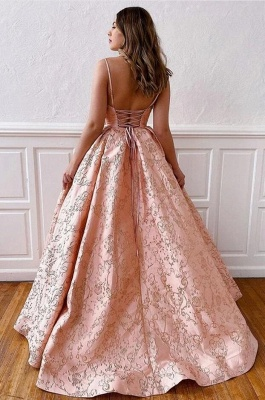 ZY214 Luxury Evening Dress Long Pink Prom Dresses V Neck_3