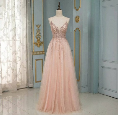 ZY193 Evening Dresses Long With Glitter Evening Dress V Neckline Online_2